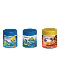 Pack Nº1 Ocean Nutrition: One Flakes (34 gr), One Pellets (100 gr) y Brine Shrimps Plus Flakes (34 gr)