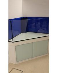Mesa de esquina a medida color blanco 120x120 para acuario de esquina