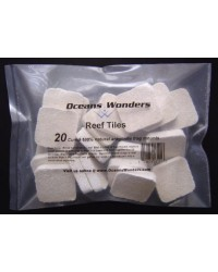 Ocean Wonders Coral Frag Tiles, Paquete de 20 unidades (30mm)